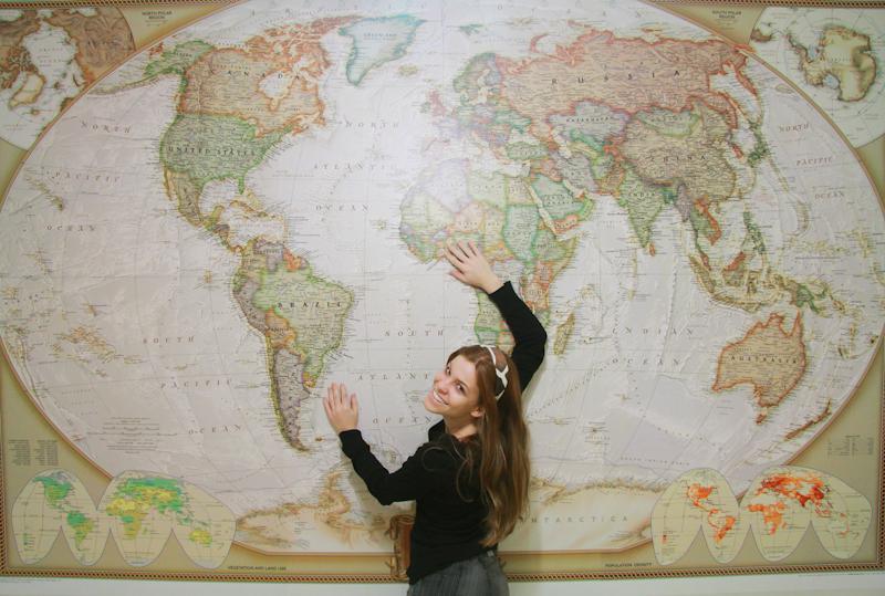 Aplicar papel de parede - Papel pared mapa mundi ...